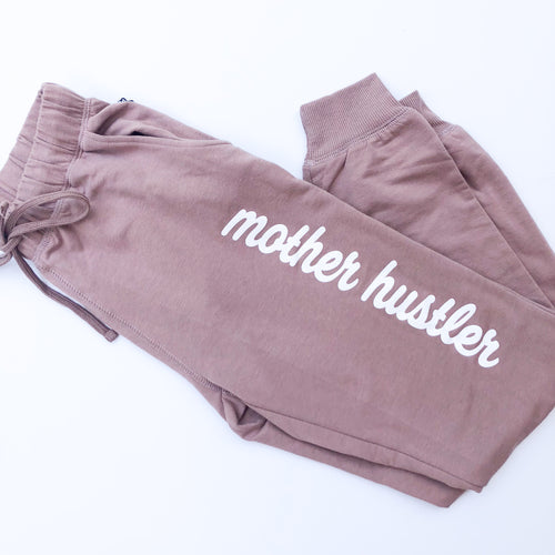 Mother Hustler Joggers - Dusty Rose w/ White Print