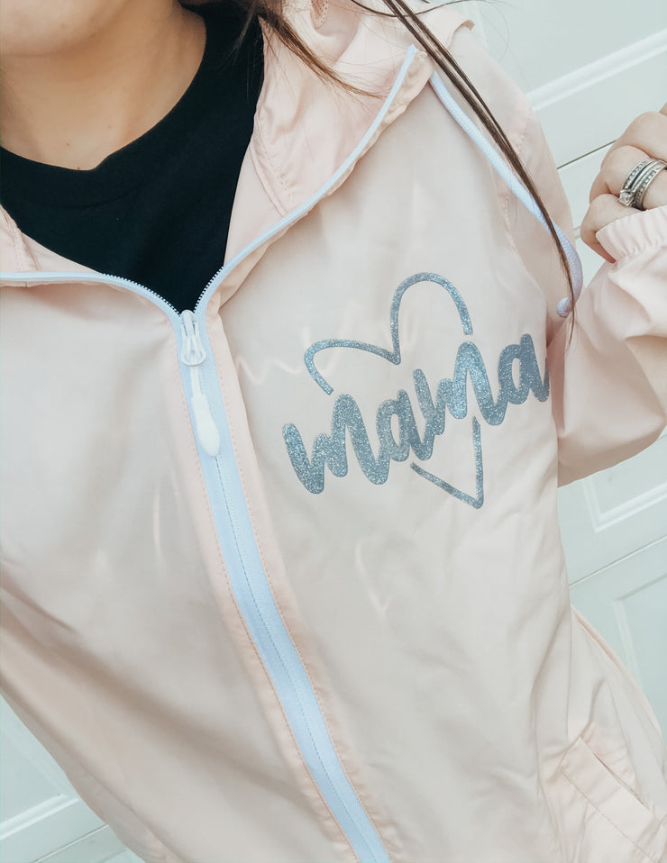 Mama Heart Icon Windbreaker Jacket - Blush w/ Gray Jewel Print