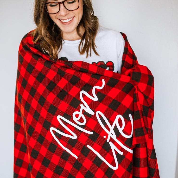 Mom Life Buffalo Plaid Oversized Blanket
