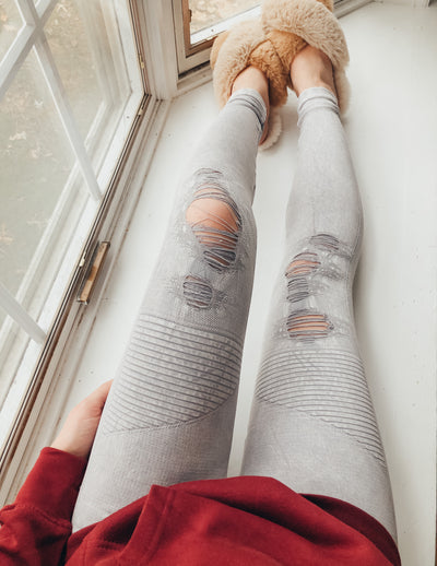Vintage Destroyed Leggings - Gray