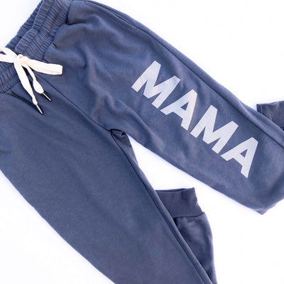 MAMA Joggers - Dusty Blue w/ Metallic Silver Print
