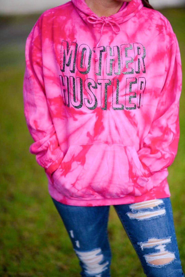 Mother Hustler Pink Tie Dye Hoodie w/ Black Jewel Print