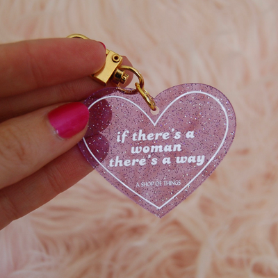If There's A Woman Glitter Heart Keychain