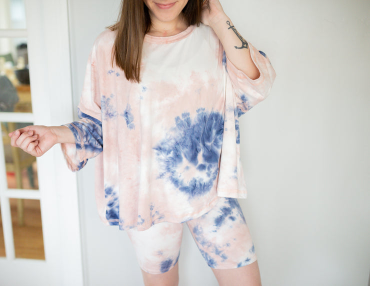 Tie Dye Biker Shorts SET - Blush + Navy