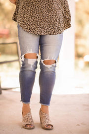 Zara Distressed High Rise Skinny - CURVY