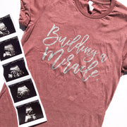 Building A Miracle Maternity Tee - Mauve w/ Silver Metallic Print