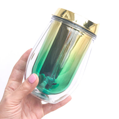 Metallic Ombre Stemless Wine Tumbler - Turquoise