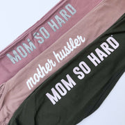 Mom So Hard Capri Joggers - Olive w/ Blush Print