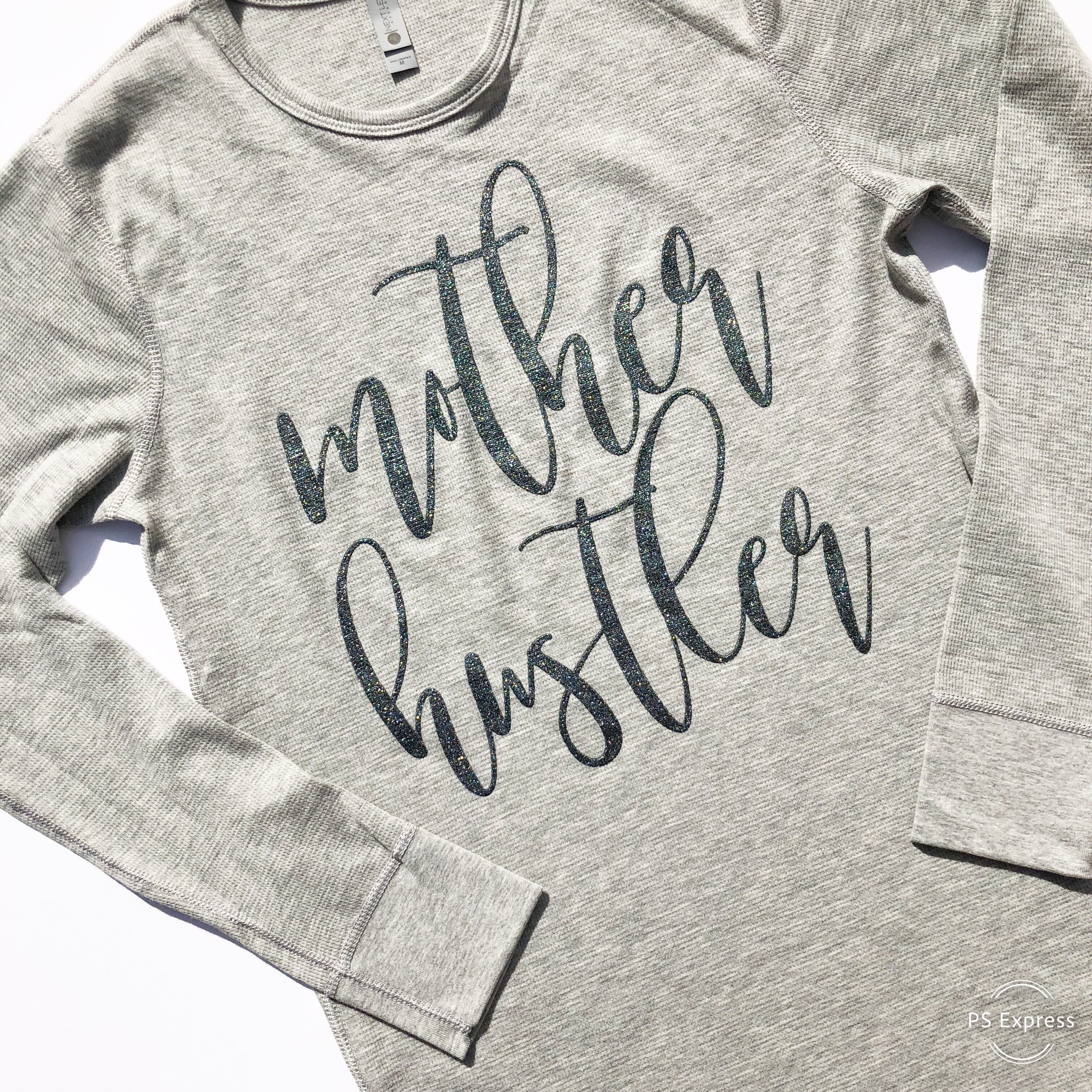 Mother Hustler Thermal Pullover - Gray w/ Ocean Glitter