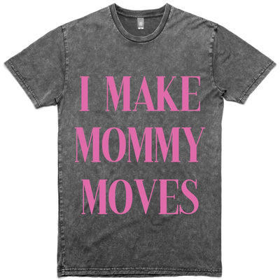 Mommy Moves Stone Washed Tee - Graphite w/ Hot Pink Print