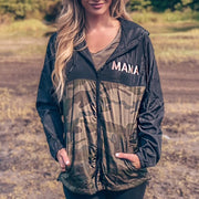MAMA Camo Windbreaker Jacket w/ Metallic Rose Gold Print