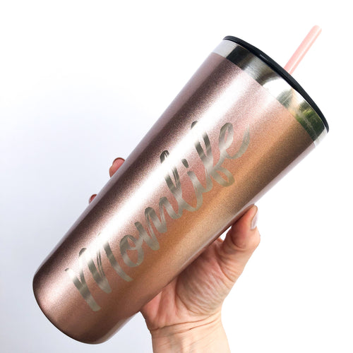 Momlife Rose Gold Engraved Stainless Steel Tumbler