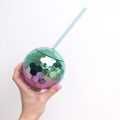 Ombre Disco Ball Drink Tumbler - Mint + Lavender