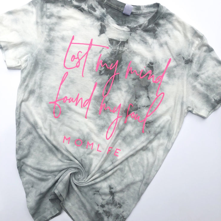 Lost & Found Tee - Gray Crystal Tie Dye w/ Neon Pink Print