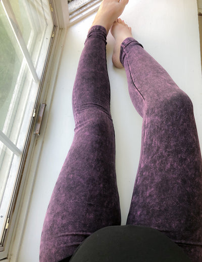 Mineral Washed Leggings - Blackberry