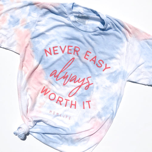 Worth It Tie Dye Tee - Coral