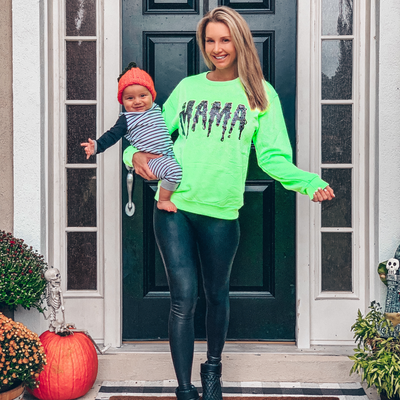 Mama Slime Neon Green Sweatshirt w/ Black Jewel Print