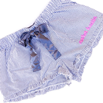 Mother Hustler Seersucker Shorts - Charcoal w/ Bubblegum Pink Print