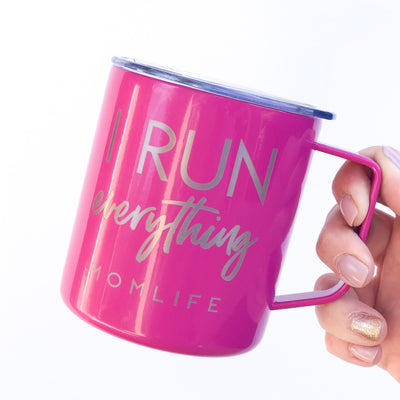I Run Everything Engraved Stainless Steel Travel Mug - Fuschia