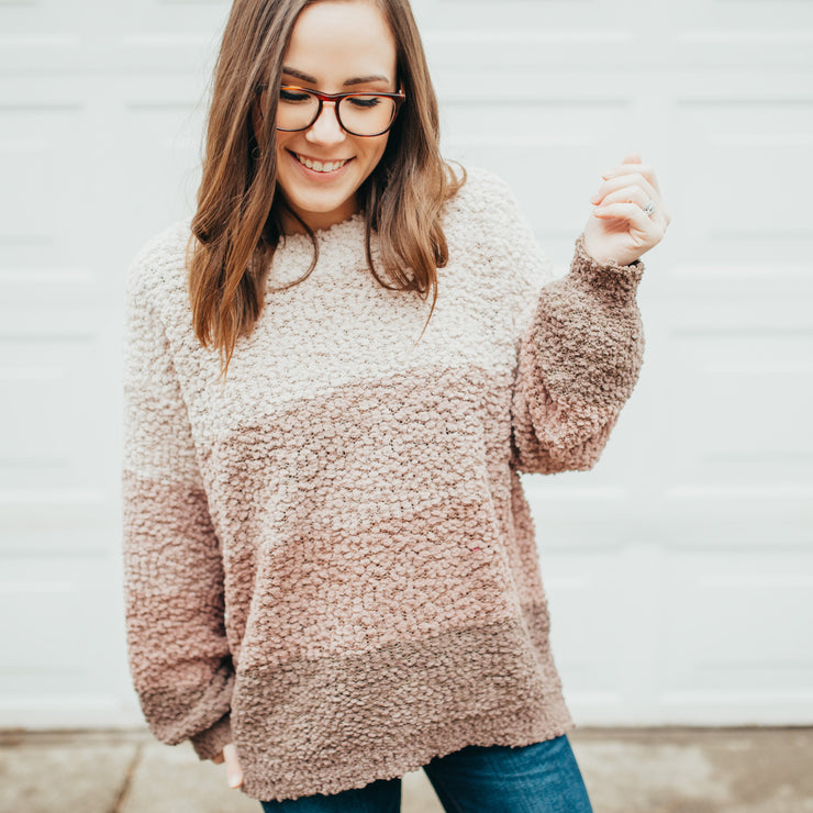 Popcorn Striped Pullover Sweater - Mocha