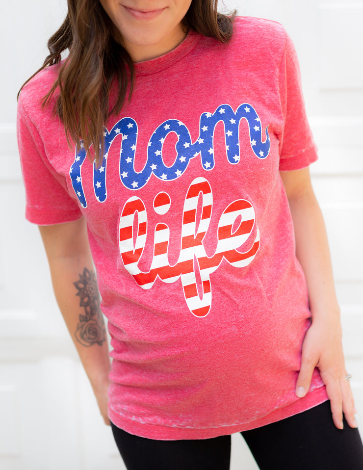 Mom Life American Flag Tee - Red Acid Wash