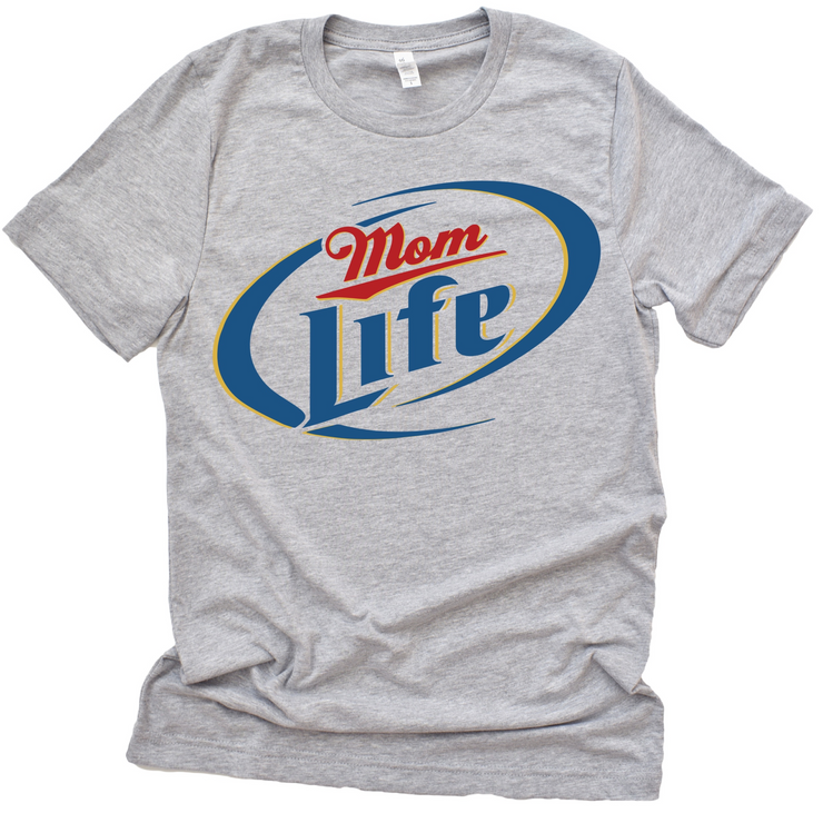 Momlife Miller Lite Tee - Athletic Heather Gray