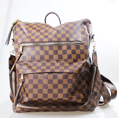 Hailey Convertible Backpack - Brown Plaid (WILL SHIP BY 1/26)