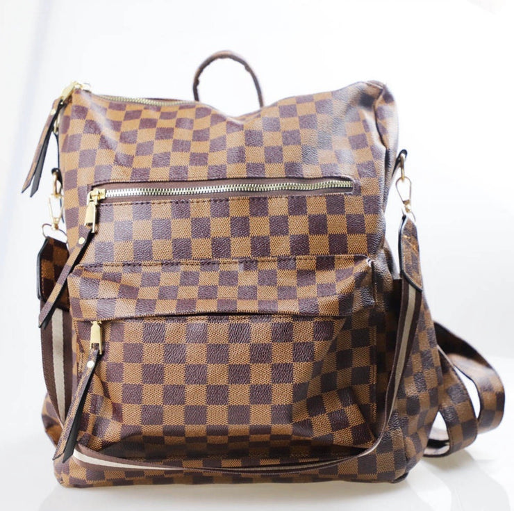 Hailey Convertible Backpack - Brown Plaid