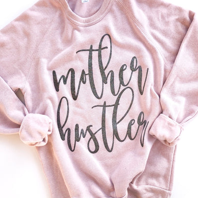 Mother Hustler Sweatshirt - Rose Quartz w/ Gunmetal Glitter