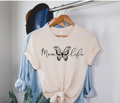 Mom Life Butterfly Tee - Cream