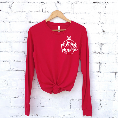 Merry Mama Icon Pullover Tee - Red w/ White Jewel Print