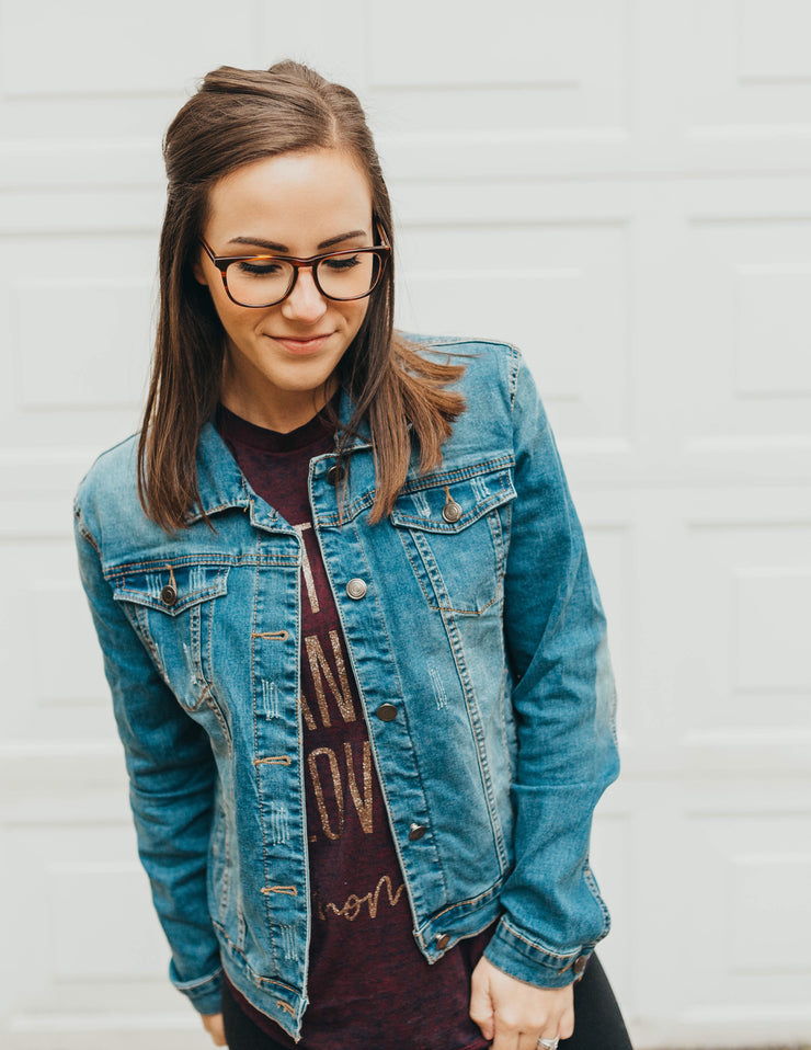MAMA Embroidered Denim Jacket