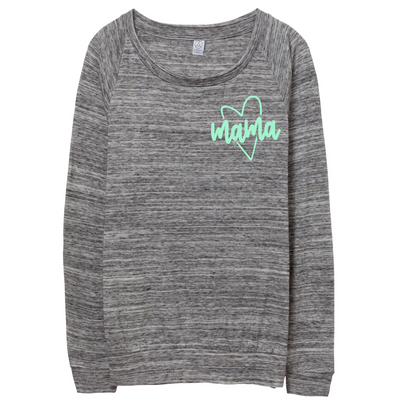 Mama Heart Icon Space Dye Pullover w/ Mint Jewel Print