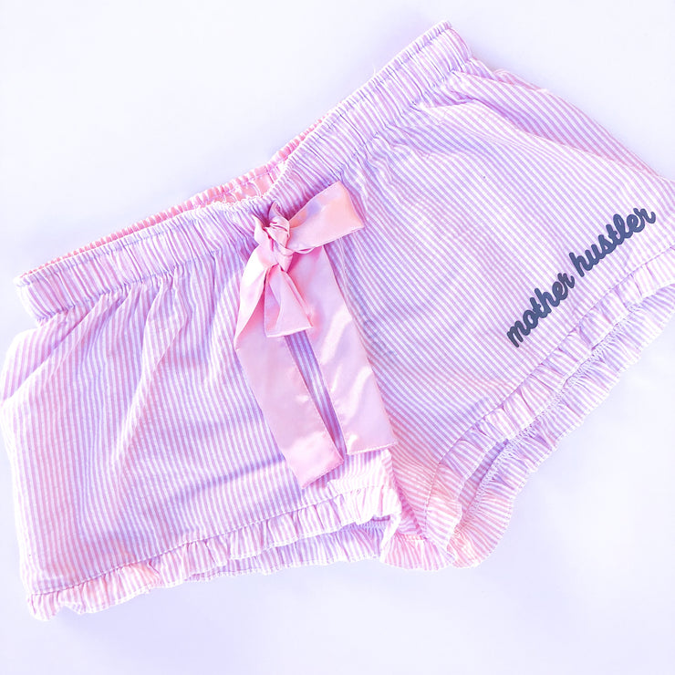 Mother Hustler Seersucker Shorts - Pink w/ Grey Print