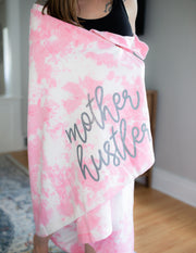 Mother Hustler Tie Dye Throw Blanket w/ Charcoal Jewel Print