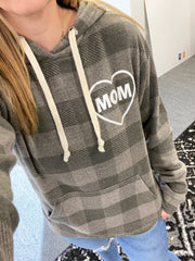 MOM Heart Gray Buffalo Plaid Hoodie