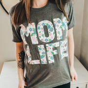 Momlife Floral Tee - Gray