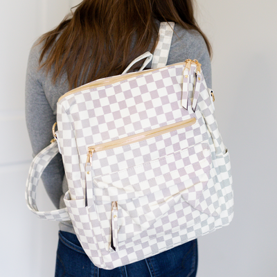 Hailey Convertible Backpack - White Plaid