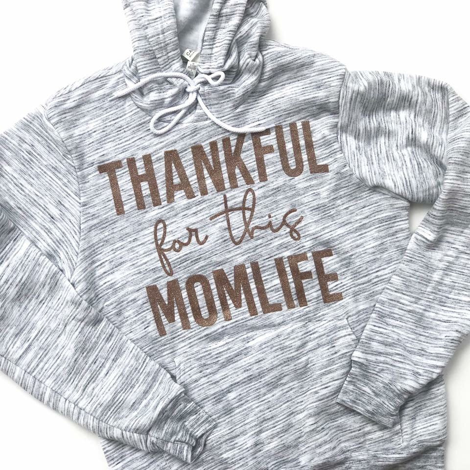 Thankful for this Momlife Hoodie - Marble w/ Rose Gold Glitter Print