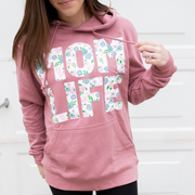 Momlife Floral French Terry Hoodie - Mauve