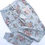 Momlife Vintage Floral Joggers w/ Peach Print