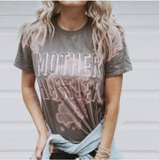 Mother Hustler Gray Bleach Out Tie Dye Tee with Metallic Rose Gold Print (PREORDER)