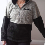 Two-Toned Sherpa Pullover - Taupe/Black with w/ Black Embroidery