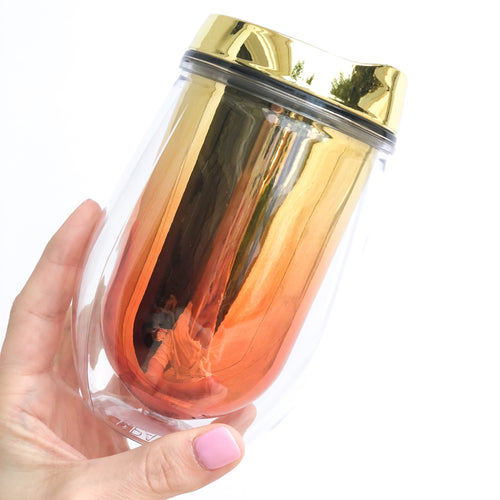Metallic Ombre Stemless Wine Tumbler - Sunset