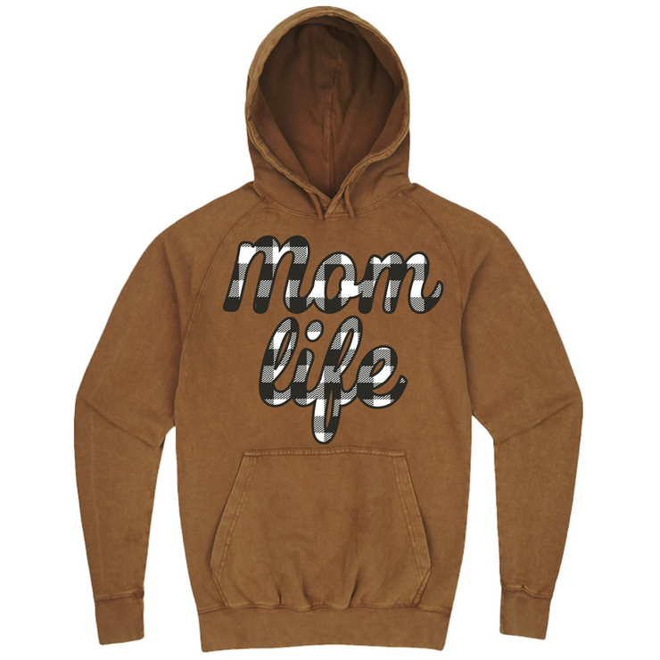 Mom Life Black + White Buffalo Plaid Hoodie - Vintage Camel