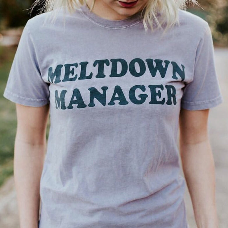 MELTDOWN MANAGER Tee - Orchid Stone w/ Dark Gray Print