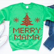 Merry Mama Knit Print Sweatshirt - Kelly Green