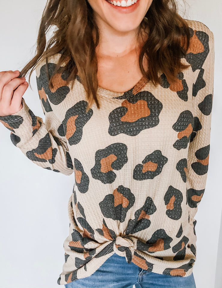 Leopard Waffle Long Sleeved Top - Taupe
