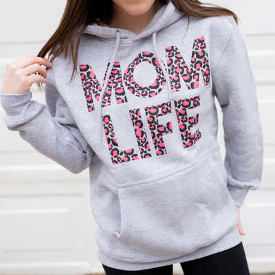 Momlife Neon Cheetah French Terry Hoodie