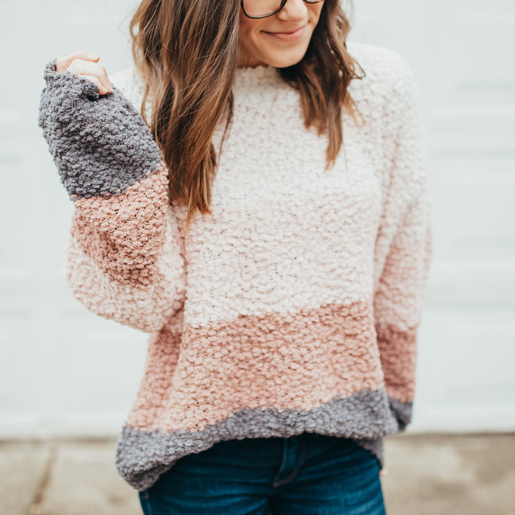 Popcorn Striped Pullover Sweater - Blush
